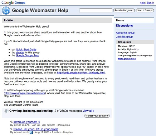 Google Groups Webmaster Help Main Page