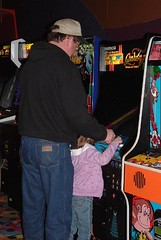 Kady and Paul playing PacMan