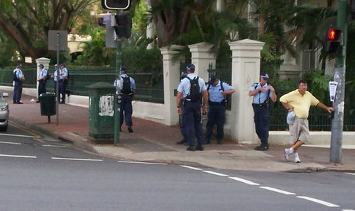 Police on corner of George and Alice Sts, opposite Parliament House - Invasion Day rally, Brisbane, Queensland, Australia 070126