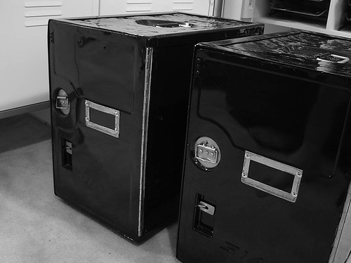 pair of airline lockers
