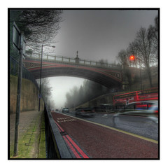 ghosts' commute (Maciek 1955) Tags: road bridge london fog traffic archway february hdr buslane trafficattack