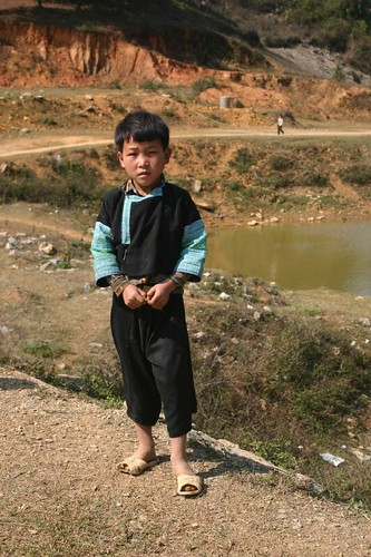 Boy in traditional clothes. Near Moc Chau. Vietnam, February 2007.