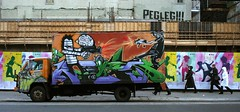 People on the street (TrespassersWill) Tags: newyorkcity colors truck graffiti colorful lafayette noho atestofwill