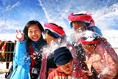 Fun! Fun! Fun! (hk_traveller) Tags: china trip travel blue red vacation people snow color topf25 smile canon wow fun photo interestingness interesting asia flickr 300d canon300d shangrila traveller explore turbo  yunnan    douban top500 supershot i500 view1000 turbophoto mywinners abigfave alemdagqualityonlyclub