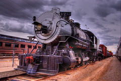 Arizona Railway Museum, Chandler, Arizona (Thad Roan - Bridgepix) Tags: old railroad arizona black phoenix museum clouds train vintage track cloudy gray engine rail railway historic steam locomotive chandler traintrack baldwin railfan hdr railfanning photomatix 200702 photo2b59