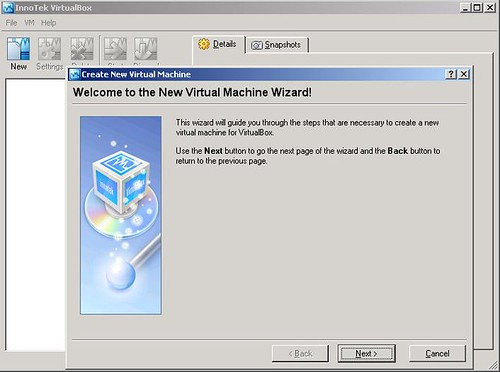 VirtualBox - virtualMachine - openSUSE10.2 - comando New