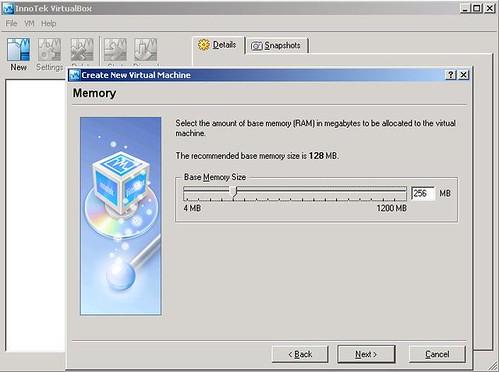 VirtualBox - virtualMachine - openSUSE10.2 - memory