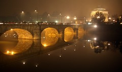 The bridge (kurtolo81) Tags: italy reflection fog night torino italia fabio piemonte po nebbia turin notte blueribbon riflesso riverpo pregno supershot interstingness1 abigfave grangrupo superbmasterpiece travelerphotos kurtolo wowiekazowie granfoto ccc7postcardshots fabiopregno