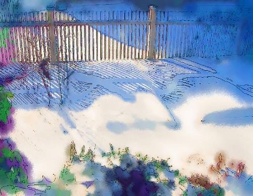 snowy garden watercolor