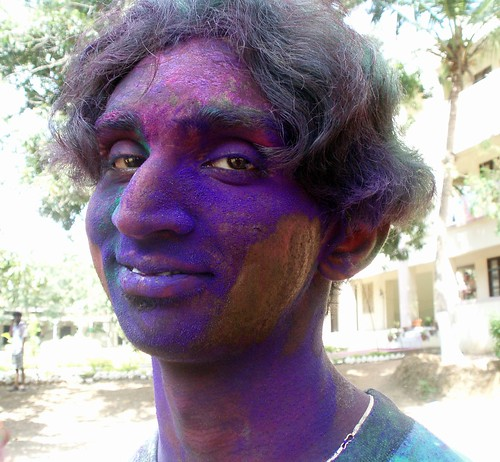 Computer science fellow, blue face, during holi festival