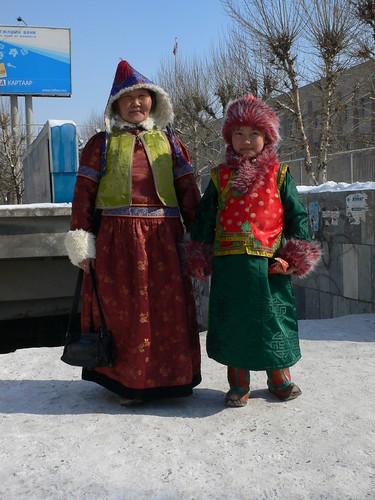 Buryat mum and daughter the last day of the lunar calendar new year, Ulaanbaatar
