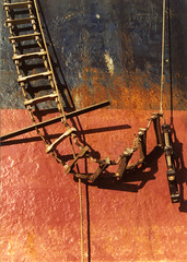 Where the ladder rests (archidave) Tags: red black color colour composition boat dock rust ship cardiff rope ladder