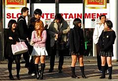 Shinjuku Girls 4 (Pat Rioux) Tags: street girls socks japan tokyo shinjuku legs skirt casual