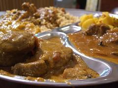 Biryani Rice with Goat Masala and Lamb Rogan Josh - Zam Zam (avlxyz) Tags: food indian spice goat curry casio spices lamb spicy exilim masala biryani roganjosh halal biriani z850 eatdrinkblog2010