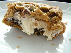 Chocolate chip ice cream sandwich (stupid clever) Tags: chocolate cream sandwich chip chocolatechipcookie shelterrificwendy gaynorperfect cookiechipwichice