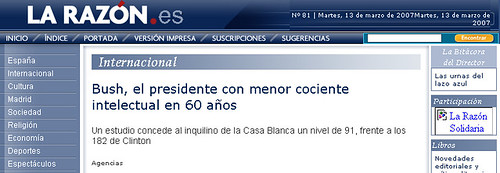 Portada de La Razón con el hoax (13 de marzo de 2007)