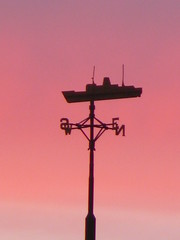 Weather-vane over Hull at sunset. (the noggin_nogged) Tags: pink sunset sky west weather architecture wind south yorkshire north vessel east kingston direction weathervane hull pinksky trawler pinksunset upon humber williamwilberforce kingstonuponhull eastridingofyorkshire riverhumber nogginnogged