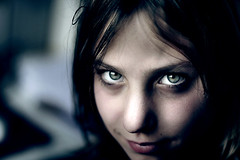 (parade in the sky) Tags: portrait closeup dark pretty sister f14 surreal eerie creepy spooky isabel smirk bizarre creep windowlight greeneyed fsftsblog topvaa artlibre botopv0307 cvt40 t40gold
