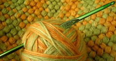 Crochet is beautiful (K2D2vaca) Tags: orange green wool stitch crafts crochet yarn homemade hook 2007 bestofme crochethooks thebiggestgroup p1f1 impressedbeauty puffstitch k2d2vaca