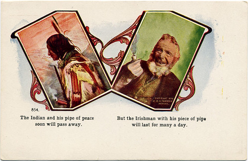 Postcard: Indian, Irishman, pipes