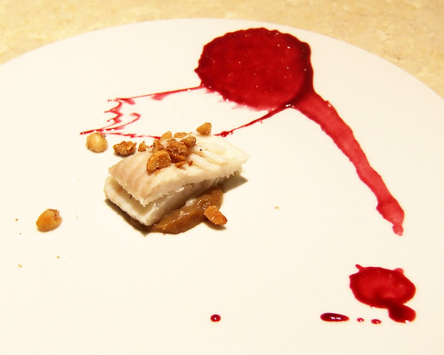 Ideas in Food - Turbot - grape-chipotle, fermented black bean-eggplant, spiced macadamia nuts