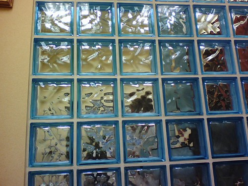 wall of glass blocks by The Consumerist.