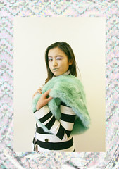 Gleam (Frances Sousa) Tags: fashion editorial holographic pastel stripes stylist style faux fur green mint wink model
