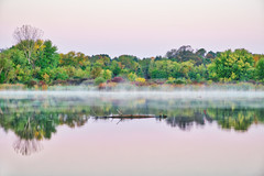 Colors of Overcast (giantmike) Tags: colors autumn fall lake sky floating hdr water log reflections morning wi nature canonef24105mmf4lis