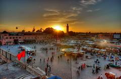 Djemaa el Fna at dusk (Arne Kuilman) Tags: city sun square evening sundown d70s explore morocco maroc marocco marrakech marrakesh plein hdr beanbag touristattraction marokko bustling djemaaelfna moroccomypersonalfavorites