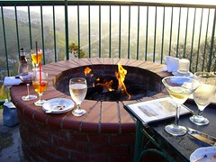 Fire ring at Orange Hill Restaurant (FrogMiller) Tags: california ca sunset orange beer glass fence fun fire glasses view wine martini flame vista law lawyers orangecounty oc martinis lawyer firepit legal theoc firecircle orangehill orangehillrestaurant robertmiller ocbarristers orangecountybarristers