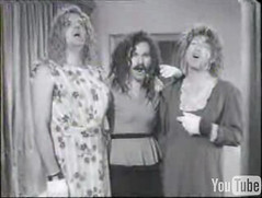 Still from Spike Jones video, Cocktails for Two, three men in drag singing.