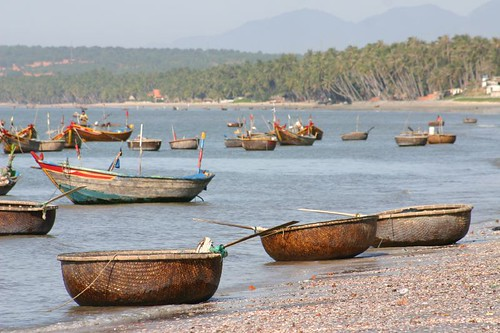 Rattan fishing boats at Mui Ne Fishing Village