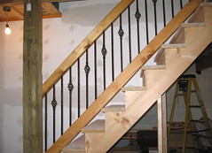Basement stair rail