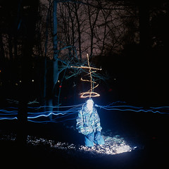 In the Woods (Danny Fontaine) Tags: longexposure nightphotography light abstract art night dark stars religious lights weird moving scary abstractart surreal spooky mysterious nightshots nightsky ai nightphotos nightpics nightphotographs unworldly antidoteandinfamy dannyfontaine religiousphotography