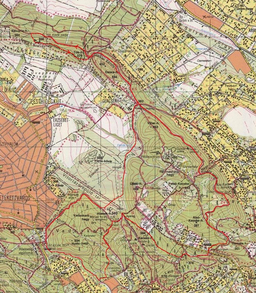Hármashatár-hegy térkép