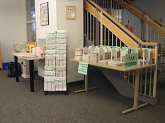 Chelmsford Library's tax form display