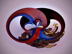 Seattle Oroborus (David M Hogan) Tags: seattle sculpture sunrise amazingcircle spaceneedle kerrypark hdr seattlecenter ouroboros photomatix uroboros uroborus oroborus davidhogan mobiustwist