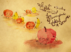 Illustration Friday / Red (said wafiq) Tags: orange apple fruit illustration digital ink mixed drawing laranja banana fruta pear watercolour ilustrao desenho maa melo aquarela pra cantaloups