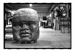 olmechouse (lebovox) Tags: head negativespace fiberglass olmec smm sciencemuseumofminnesota monochromia lebovox lebovoxphotography ethanlebovicsphotography