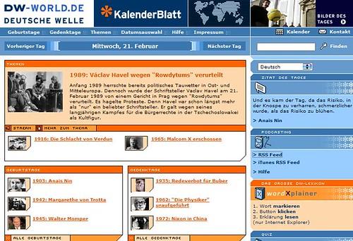 Kalenderblatt der Deutschen Welle