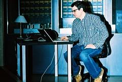 Matt Checking the Airwaves (Kris Krug) Tags: music film vancouver studio xpro crossprocessed bass gastown recording mattgood matthewgood