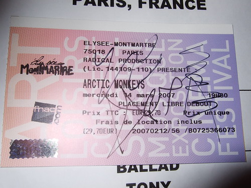 Ticket Arctic Monkeys_Elysee-montmartre