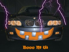 BMW Z3 on Halloween night (Jim Mullhaupt) Tags: auto favorite orange black hot halloween car monster pumpkin costume scary october automobile funny teeth fear ghost wheels fast spooky german passion bmw grin toothy scared custom z3 fright roadster bimmer mullhaupt jimmullhaupt