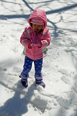 Trying to make a snowball (Patflinschrod) Tags: morning winter snow cold ice sticks shadows daughter nj freeze snowfall