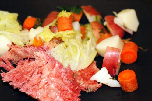 corned beef with cabbage, potatoes and carrots
