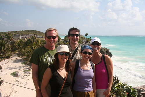 Dan, Magdalena, David, Beth, and Barrie at the Tulum ruins