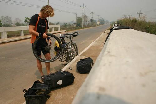 Flat tire near Mae Sai