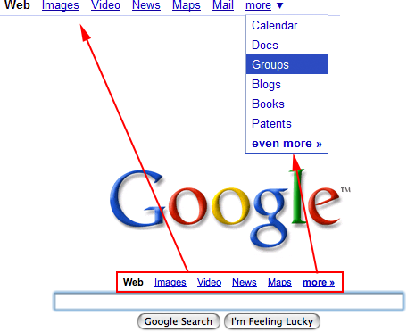 Google Nav at Top Left