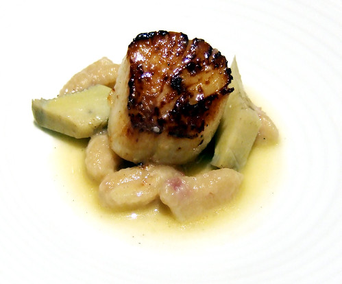 Ideas in Food - Seared Scallop - prosciutto cavatelli, banyuls vinegar, artichokes