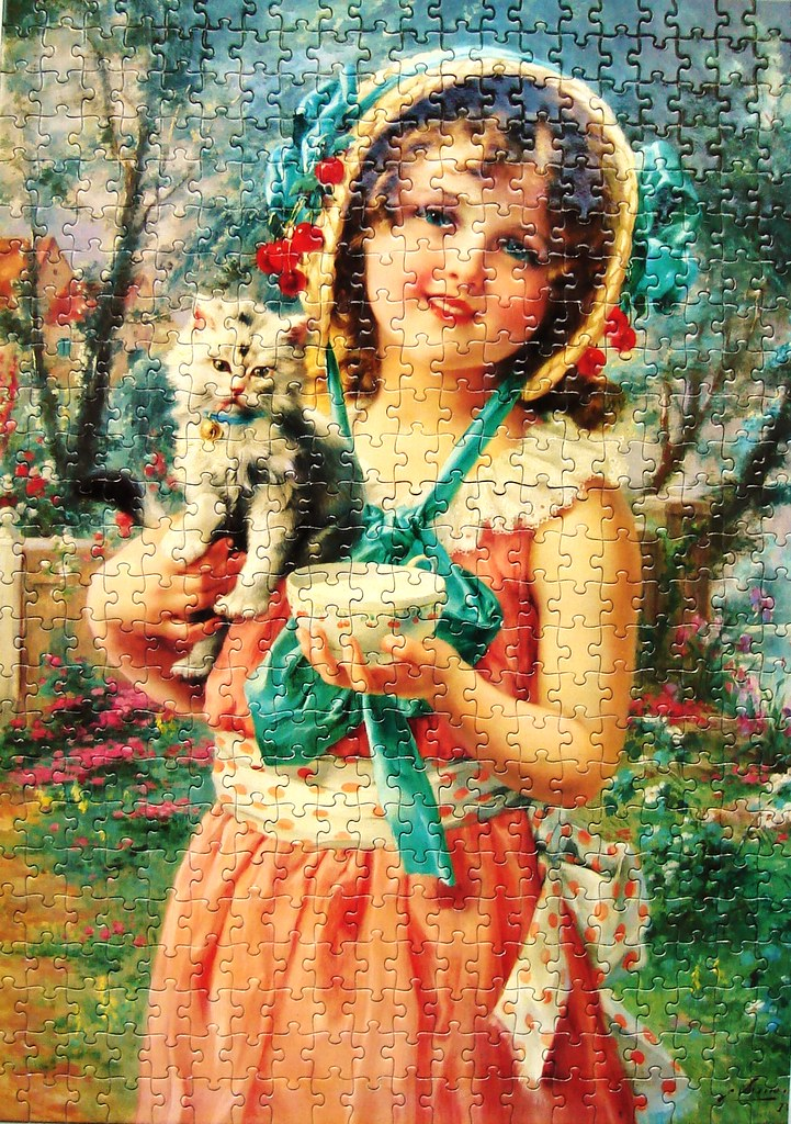 Young Girl with Kitten (Emile Vernon)